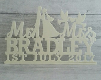 Mr & Mrs wedding sign, Personalised wedding sign, Top table, freestanding Mr and Mrs sign
