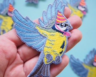 Blue Tit in a Party Hat Patch - Iron on Embroidered Bird Patch - Flying Bird in a Hat cute patch