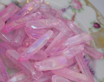 Pale Pink Aura Quartz Top Drilled Beads 13-27mm / Smooth Rustic Quartz Point Beads  // Pink Quartz Points / Quartz Point Beads