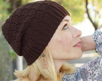 Hand knitted sprin hat - brown women hat urban wool hat brown hat