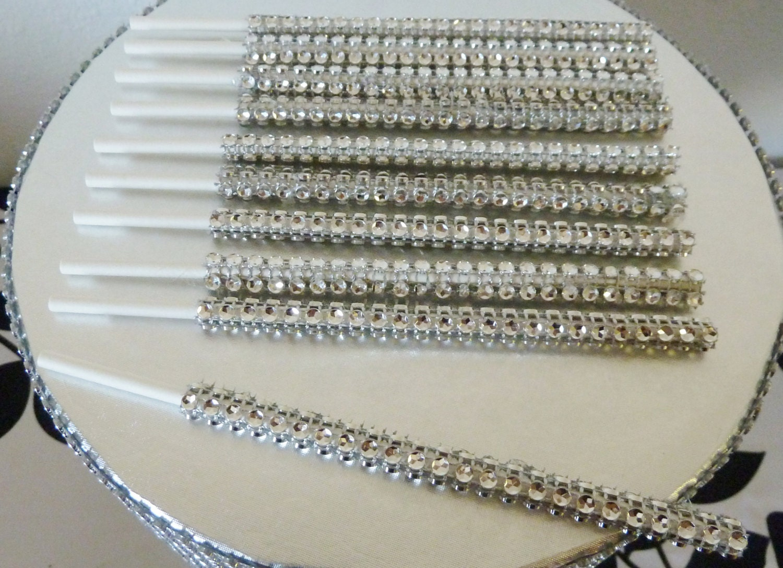 50 or 100 DIY silver bling cake pop lollipop stick faux