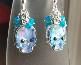 Crystal skulls, sugar skulls, Dia De Los Muertos, day of the dead drop earrings