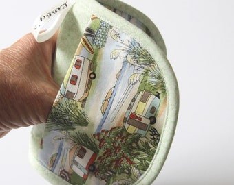 Vintage caravans mini Pot Holder - Mini Oven Mitt - Heatproof mitt - Handmade - Small oven gloves - Microwave mitts - Microwave pot grip.