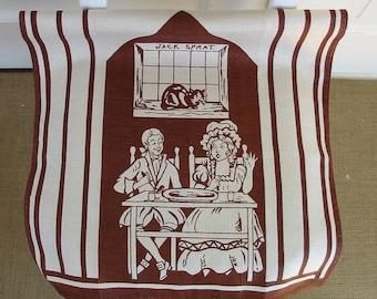 Vintage Dishtowel Linen Kitchen Brown Jack Sprat Retro Nursery Rhyme