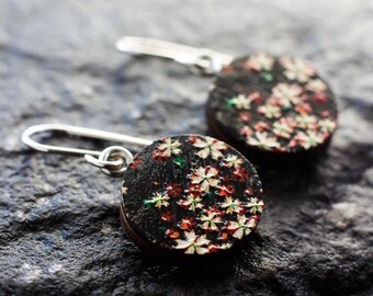 Cherry blossom earrings | Sakura earrings | Japanese flower earrings | Red and black floral earrings | Sterling silver Asian earrings
