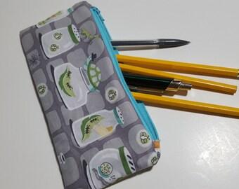 Boy Pencil Pouch, bug print, children, soft profile, Zipper bag, art pouch, travel pouch