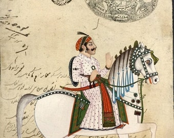 Antique INDIAN painting on stamp paper of Royal  MAHARAJA on white  Mughal horse
