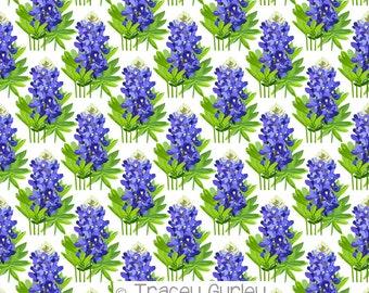 Bluebonnets on white background, bluebonnet paper, art paper, bluebonnet pattern