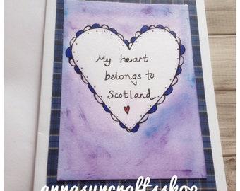 My Heart Belongs To Scotland Card - Scotland - Scottish - Tartan - UK Free Postage