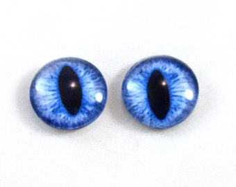 SALE 16mm Blue Cat or Dragon Glass Eye Cabochons - Evil Eyes for Doll or Jewelry Making - Set of 2