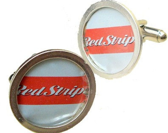 Red Stripe cuff links Birthdays, Graduate or Fathers Day Gifts
