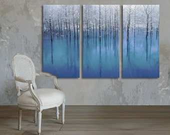 3 Panel Canvas Split, Winter Landscape of Snow Covered Trees Reflecting in a Lake, canvas art, Interior design, Room Decoration, Photo gift