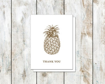 Pineapple Stationery - Southern Stationery - Classic Pineapple Thank You Card - Folded Pineapple Cards