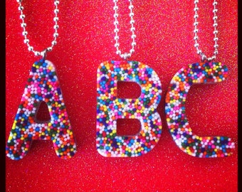 Rainbow Sprinkle Initial Necklace (All letters available)