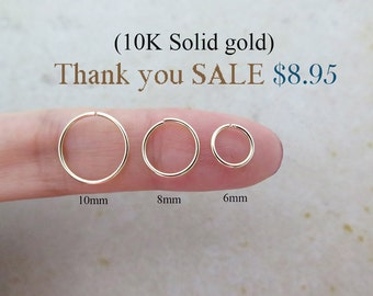 10K Gold Cartilage ring/Earrings/Piercing/Cartilage earring/Hoop earring/Helix piercing/Nose ring/Conch piercing/Rook piercing/Snug/SALE