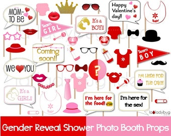 Baby shower reveal photo booth props. Printable DIY photo booth props. Instant download. Boy or girl. He she. St Valentines Day