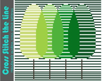 A modern cross stitch pattern of a group of trees. Contemporary design in multiple shades of green. Minimalist embroidery chart.