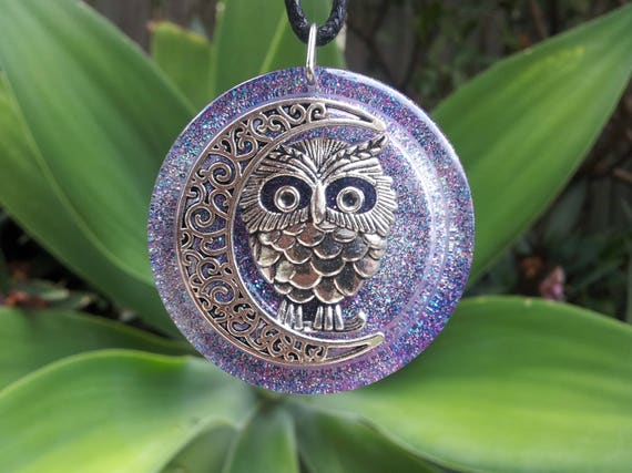 Owl and Moon in Sparkly Resin, Free Shipping Worldwide, Hippie, Boho jewelry, owl and moon jewelry, owl jewelry, moon jewelry, gypsy jewelry