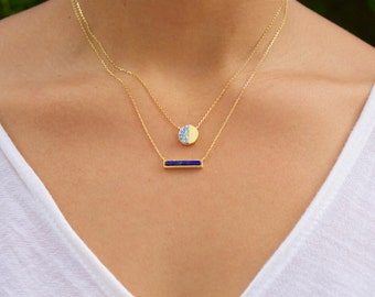 Round Howlite Necklace, Howlite Stone, Gemstone Necklace, Howlite Round, Gold Howlite Necklace, Marble Jewelry, Everyday Necklace