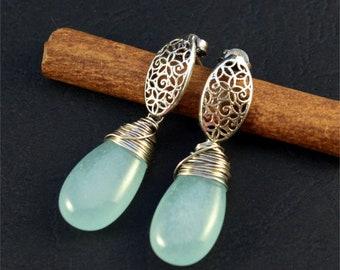 blue teardrops silver earrings, jade sterling silver earrings, silver openwork drop earrings, gift for her, oxidized silver earrings