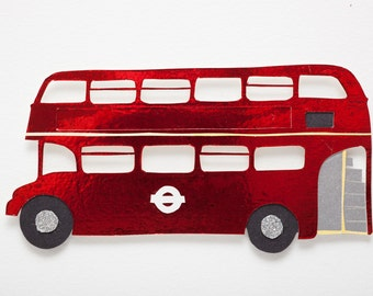 London bus papercut art // Christmas gift - personalized gift - handmade - London, England, Great Britain souvenir - retro London red bus