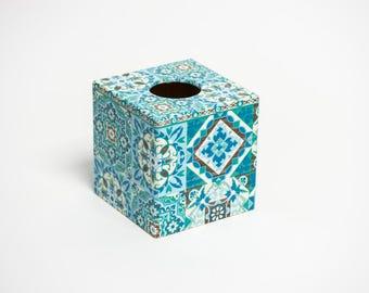 Blue Moroccan Tile Tissue Box Cover wooden handmade in UK