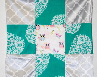 Turquoise and gray owl baby girl quilt, car seat, crib or lap blanket