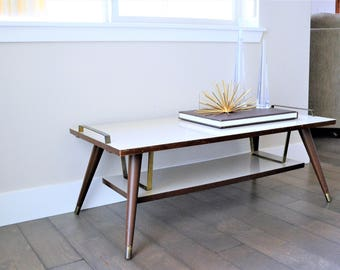 Mid Century Modern Coffee Table | Atomic Coffee Table | 2 Tiered Coffee  Table | Formica
