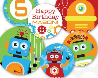 """Robot Cupcake Toppers 