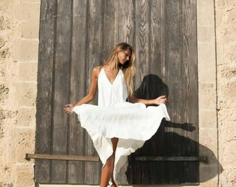 Open back white maxi dress/ boho maxi dress/halter dress/wedding dress/summer dress/ bohochic