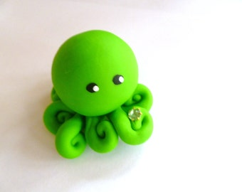Birthstone  Little Octopus Mini Marble Friend in Birthday Month of August Peridot Lime Green with Faux Gemstone