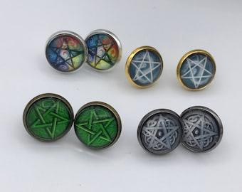 Pentagram stud earrings, Pentagram Earrings  Rose gold, gold, silver or Bronze Stud Earrings