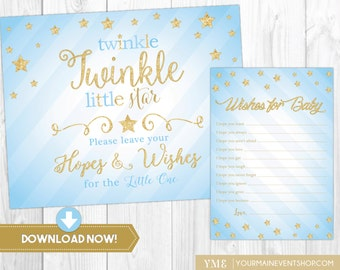 Twinkle Twinkle Little Star Wishes For Baby Card • Blue & Gold Baby Shower Well Wishes Sign and Card Printable Instant Download • BS-T-01