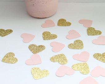Gold and Pink Confetti- Heart Confetti- Pink and Gold Baby Shower Decorations- Pink and Gold Bridal Shower Decorations- Pink and Gold First