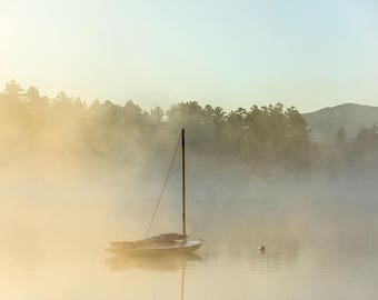 Sail Boat in the morning fog on Mirror Lake, Lake Placid, upstate, new york, adirondacks, mountains, sunrise, lake decor, lake house