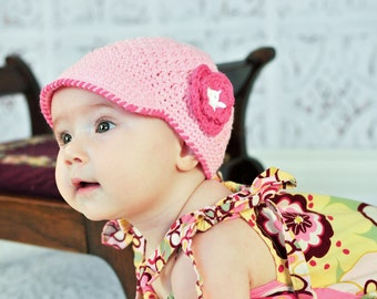 The BROOKELLE Crocheted Newsboy Baby Pink/Hot Pink Girly Trendy Cute Soft Princess Pretty