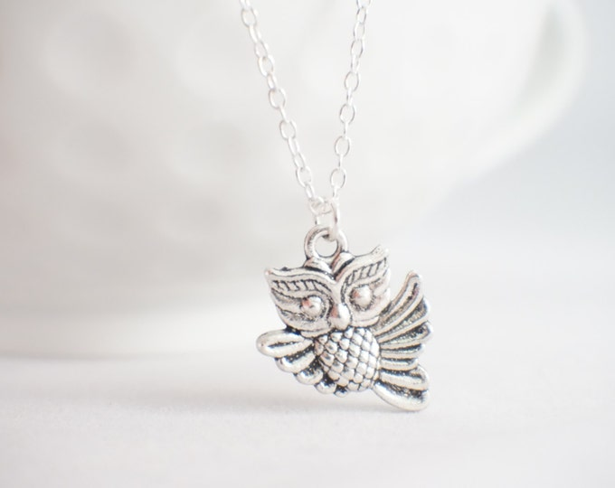 Owl necklace - owl pendant - owl always love you - owl gift - tiny owl necklace - flying owl - owl jewelry