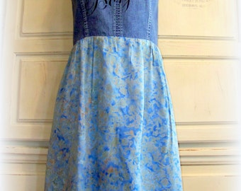 BOnjour SALE revamped Denim bodice turned sundress, size 4 xxs, blue floral skirt, black flower brooch, teen girls