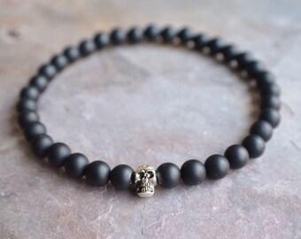 Motorcross - Silver Skull Matte Black Bead Men's Bracelet