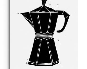 Modern Coffee / Espresso Maker - Kitchen Decor - Illustration - Wall Art - Linocut Block Print - Original or Digital Print