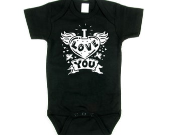 I Love You Tattoo Heart Black Baby Bodysuit