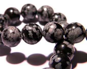 5 beads natural PG243 15 10 mm snowflake Obsidian