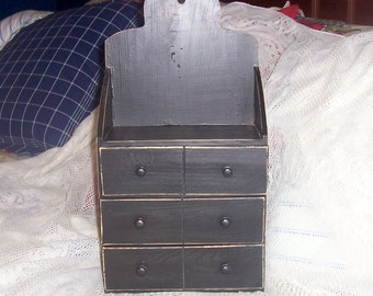 shabby chic  shelf black  wooden shelf  primitive 6 drawered with top shelf
