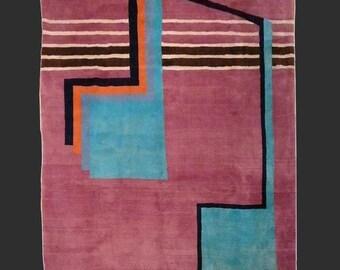 Mid Century Modern rug 8.4 x 6.6 ft / 254 x 200 cm rare persian carpet