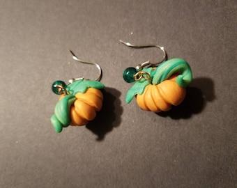Hand Sculpted Pumpkin Earrings