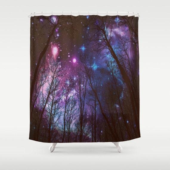 Shower Curtain Black Trees Purple Blue Aqua Space Bathroom Decor Galaxy Print