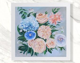 Print - Floral Art Acrylic Painting