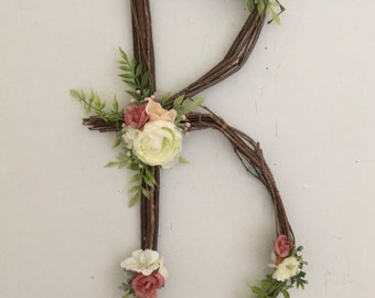 Woodland Nursery Letter Twig Monogram Number Rustic Wall Baby Girl Fairy Wedding Shower Decor Whimsical Nature Decoration Natural ABC Art