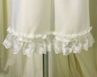 Bloomers, Pantaloons, Knickers, Victorian Underwear in Winter White Lightweight Faux Raw Silk w/ Ruffled White Lace & Ribbon Trim, Size XS