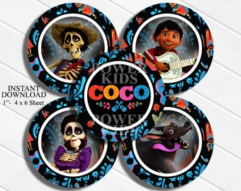 "INSTANT DOWNLOAD Coco Movie 4x6 Digital 1"" Inch Bottle Cap Image/Digital Collage sheet"